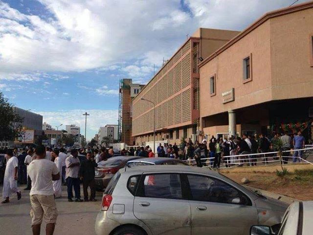 Tripoli people line up to donate blood to help their brothers shot in the street
